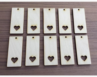 """10 Pieces- Rectangle Pendant with Heart Cut Out 2.25"""" x 1""""  Unfinished Wood Laser Cut Pendant Blanks"""
