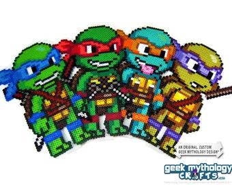 Teenage Mutant Ninja Turtles TMNT Large Perler Bead Sprite Pixel Art Character Figures