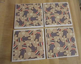 Sock Monkey Coasters - Set of Four Ceramic Drink Coasters, Whimsical Coasters, Sock Monkey Lover, Birthday, Housewarming Gift, Bar Decor