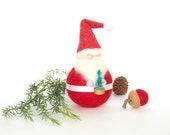 Santa Claus Decoration, Needle Felted Waldorf Christmas Gnome Doll Toy, Festive Felt Holiday Home Decor