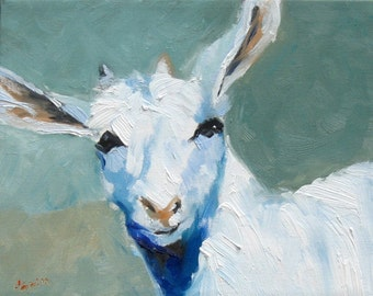 Billy Goat, Oil Painting Print, Farm Art, Country Art Decor, Cottage Chic, Wall Decor, Blue and White Goat Painting, Original Oil Print