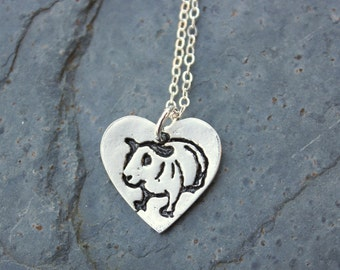 Skinny Pig necklace - handmade fine silver heart charm with Guinea pig stamp on a sterling silver chain - free shipping in USA