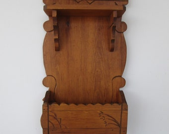 Carved Wood Wall Shelf - Cubby - Towel Bar