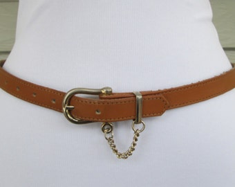 Thin Camel Leather Chain Belt S/M