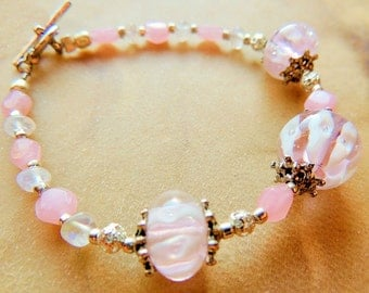 Lampwork Bracelet, Moonstone Bracelet, Pink and White, Handcrafted Jewelry, Lampwork Jewelry, Gift under 20, Gemstone Jewelry, Pink Bracelet