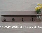 Shelf with Jar Vase and Key Hooks - Key Holder - Coat Rack - Wall Art Décor - Home Décor - Painted Shelf - Key Holder with Shelf