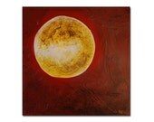 Moon on Red - Original Abstract Fine Art Painting on Canvas - Heavy Texture - 12 inches x 12 inches Gallery Wrap - by Nicole Dietz
