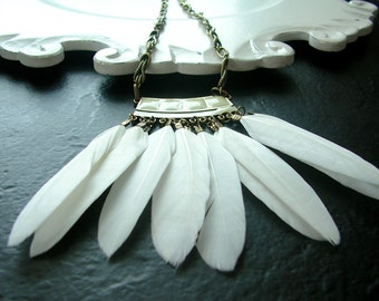 White Hot Feathers Bohemian Hippy Chic Layering Necklace in Antique Brass