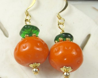 Orange Pumpkin lampwork beaded earrings for Halloween, Halloween earrings, holiday earrings