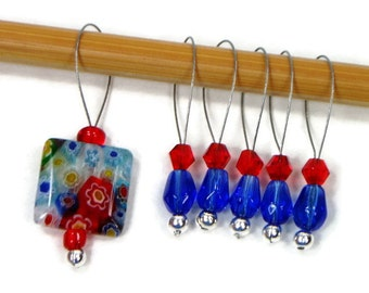Beaded Stitch Markers Snag Free Blue Red Snagless DIY Knitting Supplies Gift for Knitter Craft Supplies