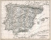 1860 German Vintage Map of Spain and Portugal - Black and White