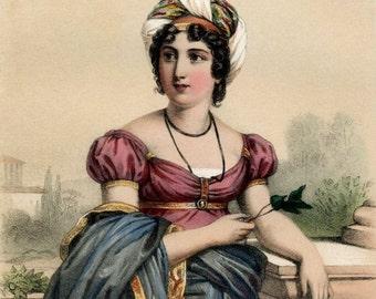 1857 Antique Chromolithograph of Madame de Stael, Napoleon's Nemesis