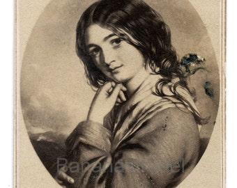 1860s - 1870s Antique CDV. Irish Girl