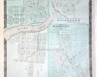 1878 Large Rare Vintage Map of the Villages of Hastings, Castleton, and Hampton, Ontario - Handcolored