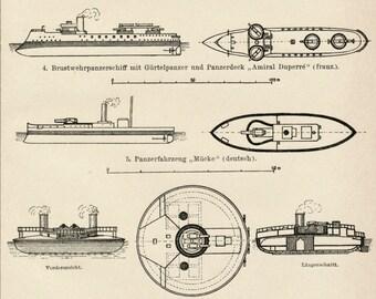 1895 German Antique Engraving of Battleships