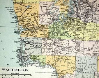 1919 Antique Map of Washington - Washington Antique Map - Antique Washington State Map - Large map