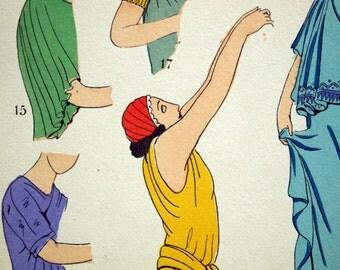 1925 French Art Deco Hand Coloured Pochoir Print of Ancient Greek Women's Fashion. By Paul Louis de Giafferri . Plate 6