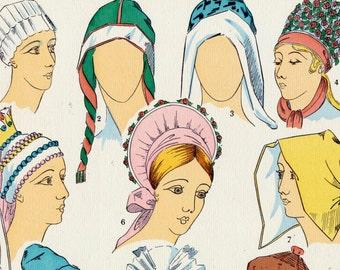 Vintage Art Deco Print - Women's Fashions in Scandinavia, Plate 7 - 1925 Pochoir Print