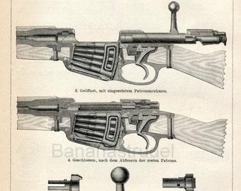 1894 Back-to-Back German Antique Engraving of Rifles