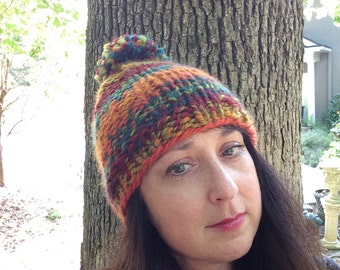 Colorful Pompom Hat Thick Warm Cap Handspun Unique Beanie for Adults