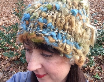 Thick Warm Cap Knit Snow Beanie Handspun Hat One of a Kind Knitted Cloche