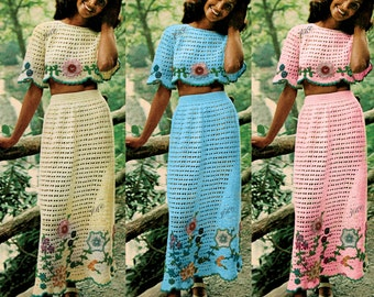 Midriff Top Crochet Pattern Skirt set 70s motif instant download PDF TS101