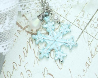 Snowflake Necklace Winter Jewelry Snowflake Pendant Necklace Winter Wedding Snow Flake Jewelry