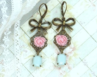 Rose Dangle Earrings Pink Rose Earrings Blue And Pink Earrings Rose Drop Earrings Shabby Chic Jewelry