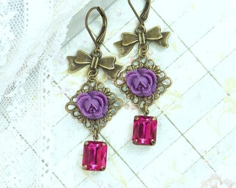Floral Dangle Earrings Rose Drop Earrings Purple Rose Earrings Jewel Tone Jewelry Rose Dangle Earrings