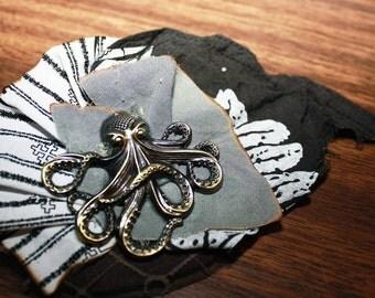 The Delicate Octopus -- Brocade SteamPunk Hair Piece Clip Fascinator - Enstasy Designs
