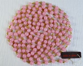 Vintage Japan - RARE - 5 feet Glass Beads on Chain - Pink with Swirls - CHP