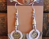 Steampunk ear gear -  Toc  - Steampunk Earrings - Repurposed art