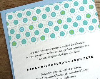 Printable Wedding Invitations - Turquoise and Blue Circle Pattern - Mod Wedding Invitations - Wedding Invite Template - Instant Download PDF