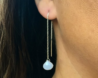 Unique Boho Chalcedony and Sterling Silver Ear chains. Great Bohemian Dangle Earrings! Gemstone Briolette Drops.