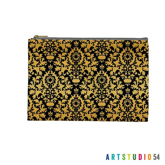 "Damask Black Gold Tan Pattern on a Pouch, Make Up, Cosmetic Case, Travel Bag Pencil - 9""X6"" -  Large -  Made by artstudio54"