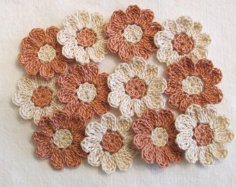 Flower Appliques for Scrapbooking or Sewing - Fall Colors, 12 Crochet Embellishments