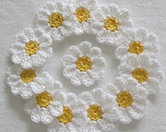 Reserved for Sabrina - Small Crochet Flowers, White, Yellow, Appliques-  set of 24
