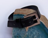 SALE Upper Arm Jewelry - Armlet - Black Faux Snake Skin  - ONE SIZE Fits All - Upper Arm Bracelet - Upcycled Vintage Belt Buckle Armlet
