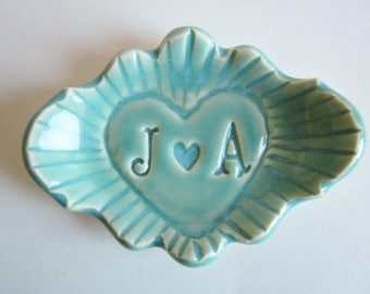 His and hers ring holder gift, In stock J and A initials, handmade ceramic, Mint green heart