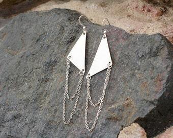Metal Triangle Chain Drape Earrings