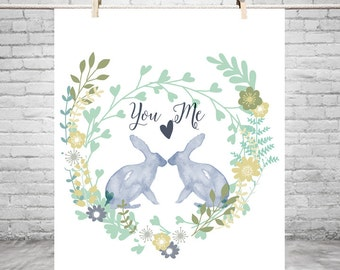 Personalized anniversary gift, watercolor Flowers, bunnies in love, Romantic wedding gift, unique wedding gift, gift for wife
