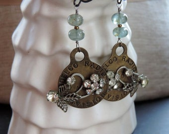 Vintage Assemblage Earrings Vintage Brass Radio Tags, Rhinestone Flowers and Moss Aquamarine Turn the Radio Up