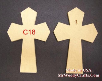 "5 12"" x 16"" 1/4"" thick Unfinished Wooden Crosses, Choose from 8 different styles, Ready to Paint, 121625-5"