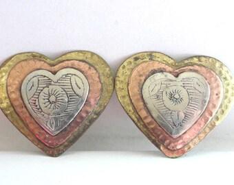 Artisan Heart Earrings Etching Mixed Metals
