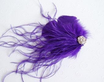 Bridal Hair Clip Bridal Feather Fascinator, Feather Hair Piece, Wedding Hair Accessory, purple hair clip - READY TO SHIP