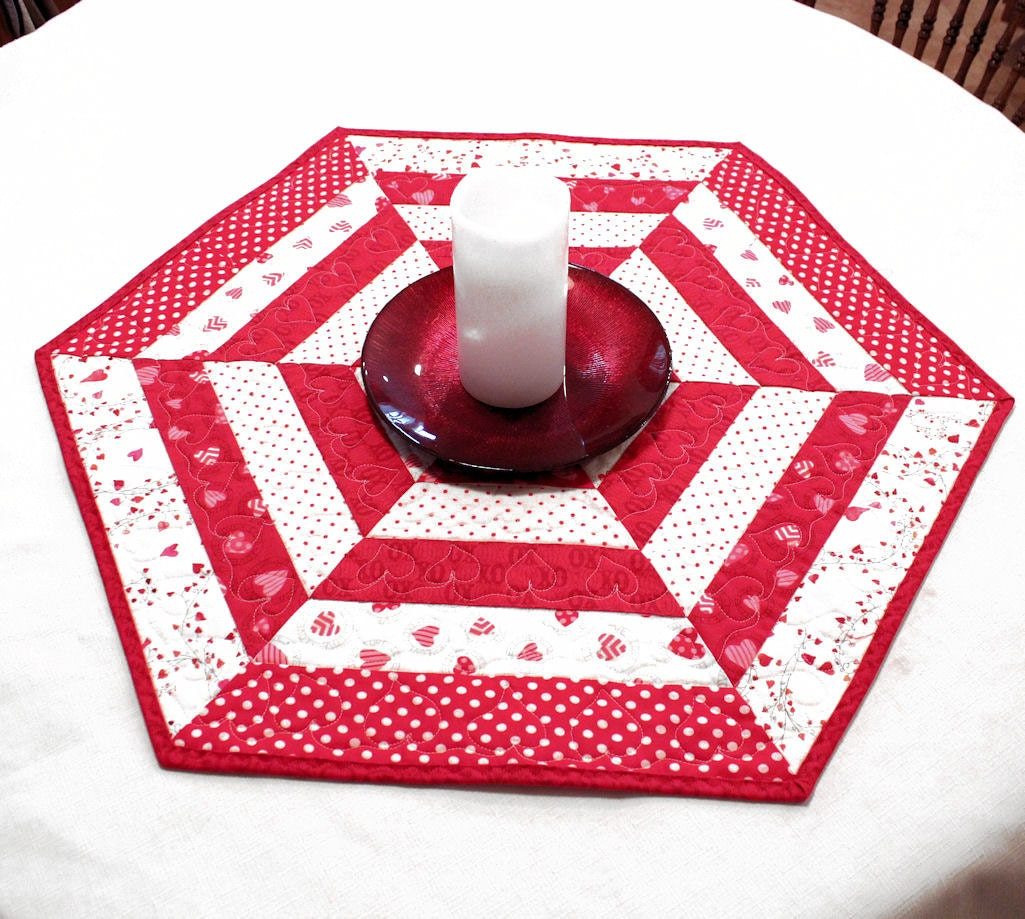 Hexagon Quilted Valentines Day Table Topper Or Candle Mat