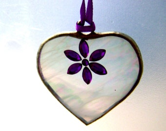 Daisy Hearts Stained Glass Ornaments Purple Daisy Mothers Day Birthday Friendship Sisters Twins Wedding