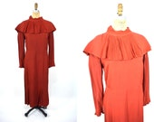 1930s dress vintage 30s rusty red accordion collar AS IS dress XL