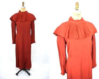 1930s dress | rusty red large accordion collar dress | vintage 30s dress | AS IS XL