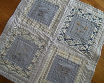 Baby Quilt, Blue Baby Blanket, Embroidered Animals Baby Quilt